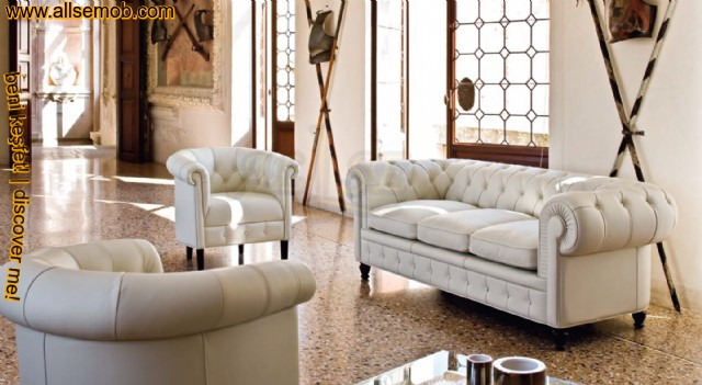 Chester Koltuk Takımı Beyaz Deri Lüks Gösterişli Tasarım