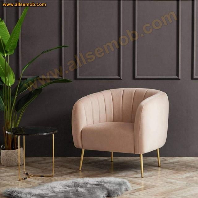 Dilimli Oval Berjer Koltuk Modern Lüks Tasarım Metal Ayaklı