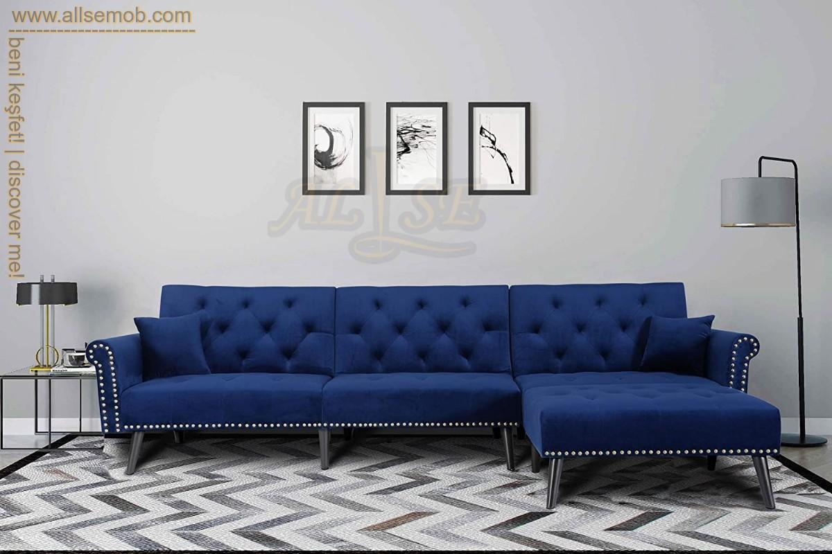Mavi Avangart Modern Chester Köşe Koltuk Takımı Lüks Metalik Yataklı