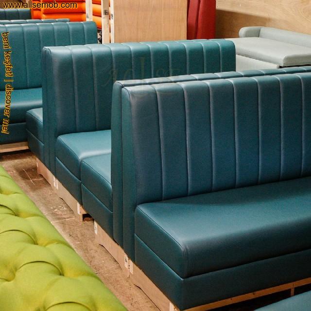 Mavi Deri Cafe Bar Sedir Koltuk Lüks Rahat Dekoratif Sedir Koltuk