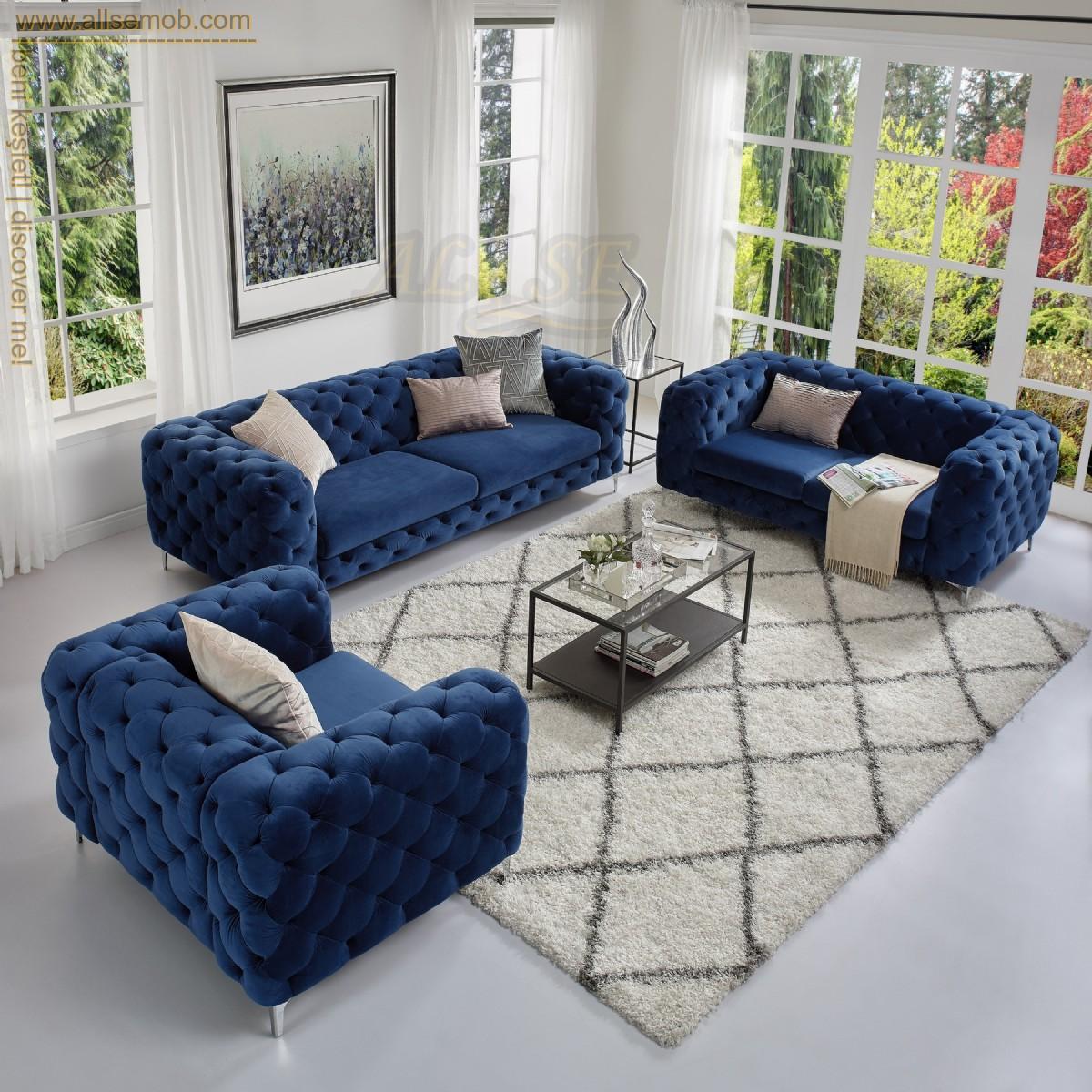 Mavi Kadife İtalyan Chester Koltuk Takımı Lüks Koltuk Modeli