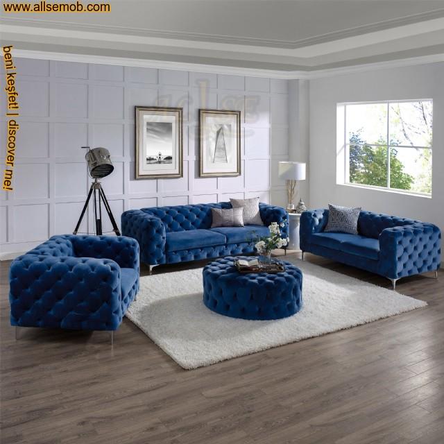 Mavi Lüks Modern Chester Koltuk Takımı Kadife Yuvarlak Puflu