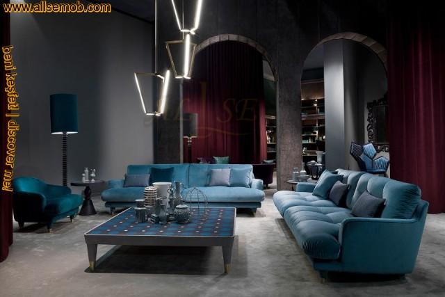Mavi Oturma Grubu Koltuk Takımı Lüks Salon Oturma Odası Tasarımı