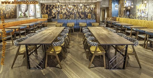 Modern Cafe Restoran Tasarımı Sedir Koltuklar Masa Ve Sandalyeler
