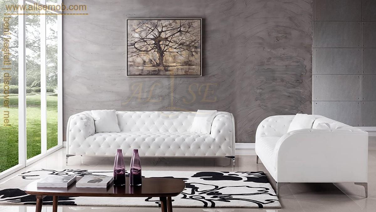 Modern Chester Koltuk Modeli Kavisli Kolçaklı Beyaz Chester Koltuk
