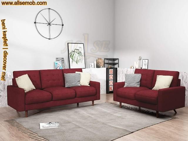 Modern Klasik Oturma Odası Koltuk Takımı Koyu Kırmızı