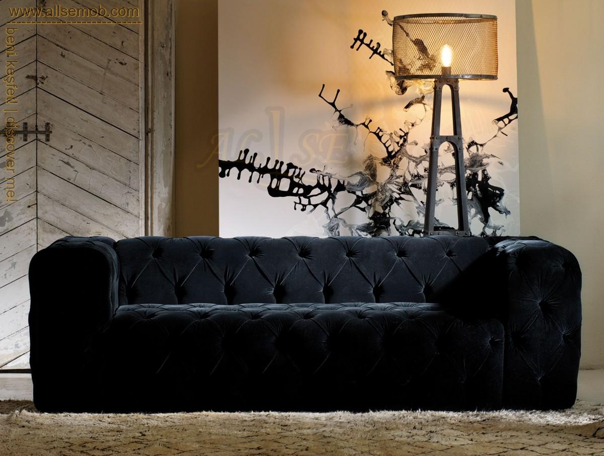 Modern Lüks Chester Üçlü Koltuk Siyah Kadife Chester Kanepe