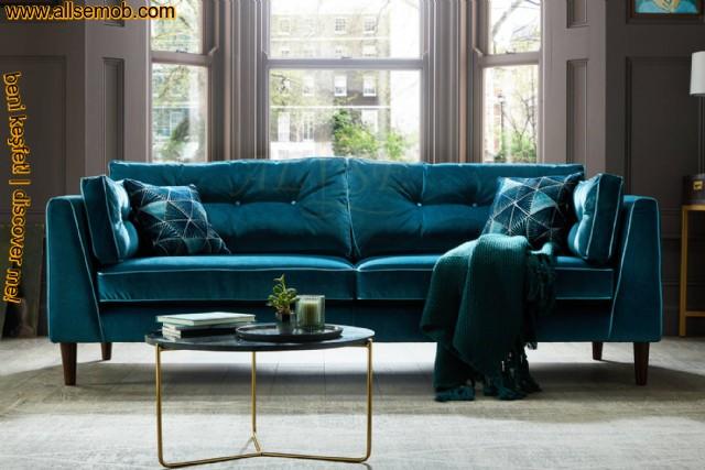 Turkuaz Kadife Lüks Kanepe Üçlü Koltuk Modern Luxury