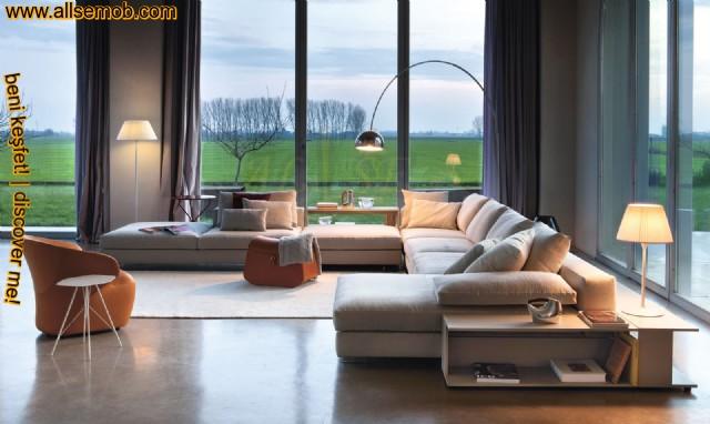 U Şekil Modern Luxury Salon Köşe Takımı Bej Keten