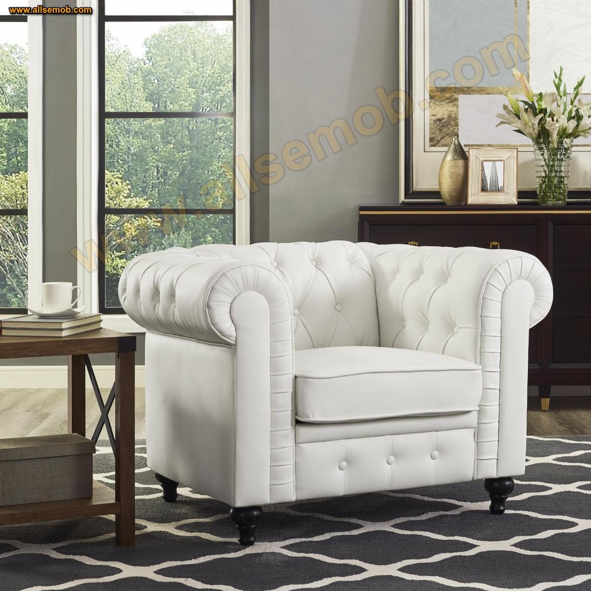 Beyaz Klasik Model Chester Tekli Koltuk P Kolçaklı Chester Berjer