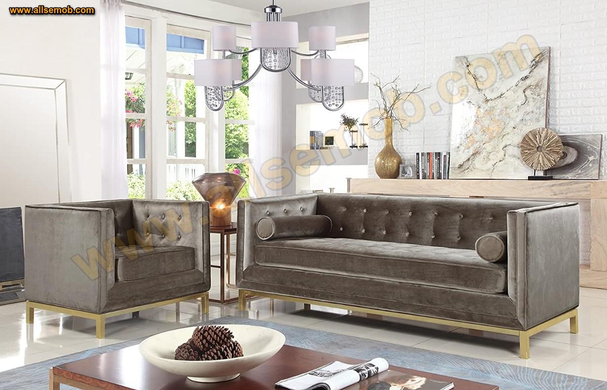 Boz Kahve Kadife Koltuk Takımı Art Deco Modern Lüks Koltuk Takımı Kadife Parlak Kumaş
