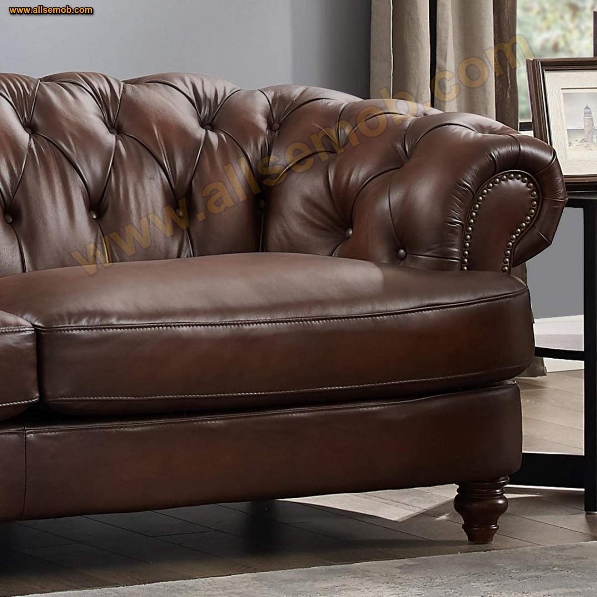İkili Kahverengi Chester Deri Koltuk Takımı Ev Ofis Lüks Tasarım