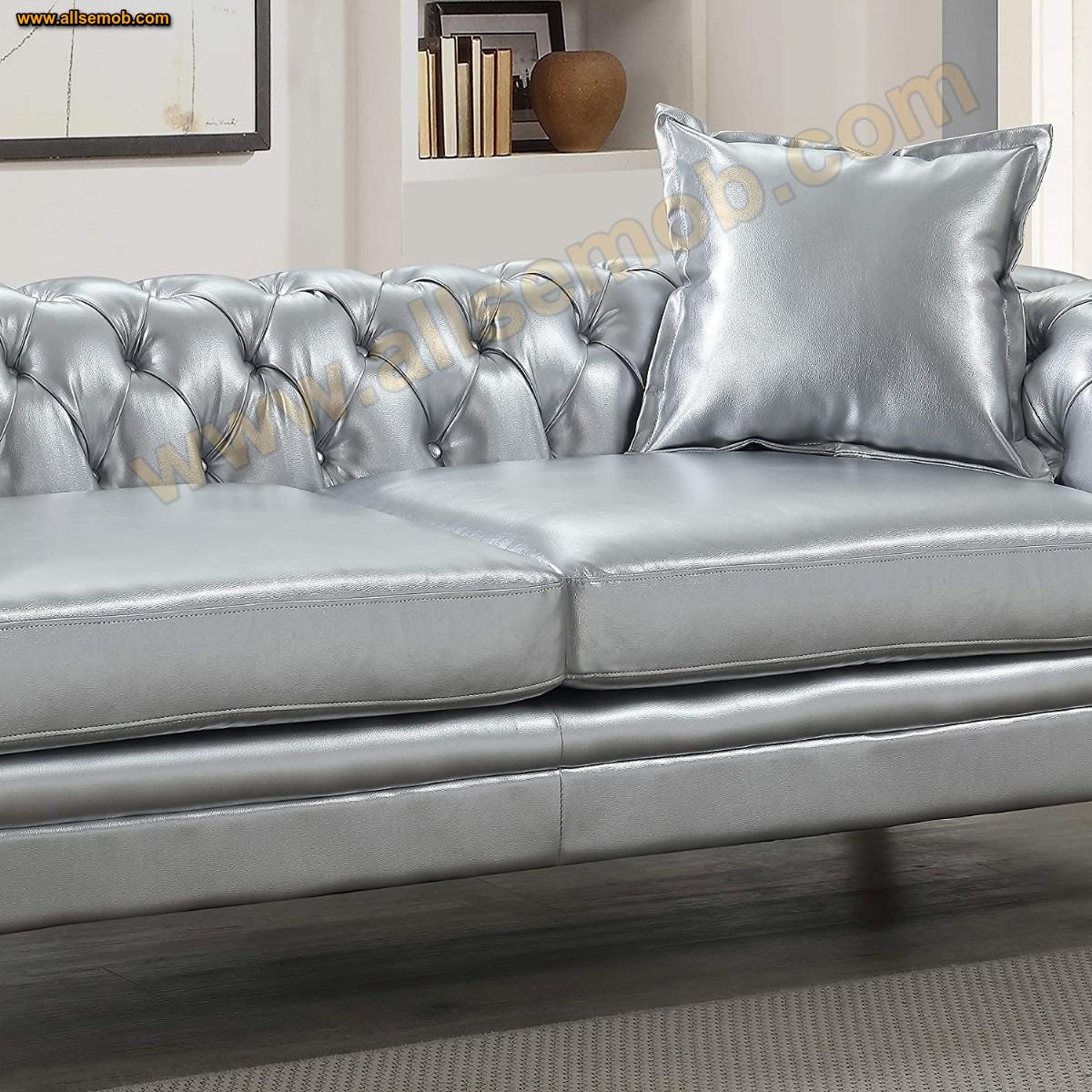 Lüks Gümüş Chester Koltuk Gümüş Renk Silver Deri Chester Kanepe
