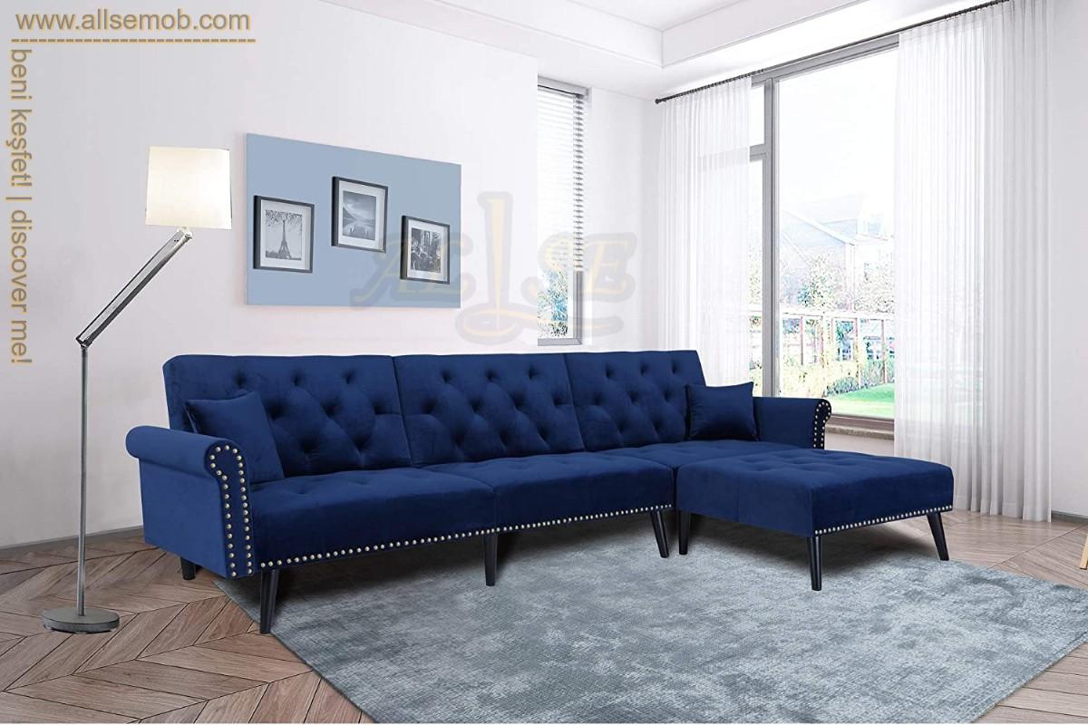 Mavi Avangart Modern Chester Köşe Koltuk Takımı