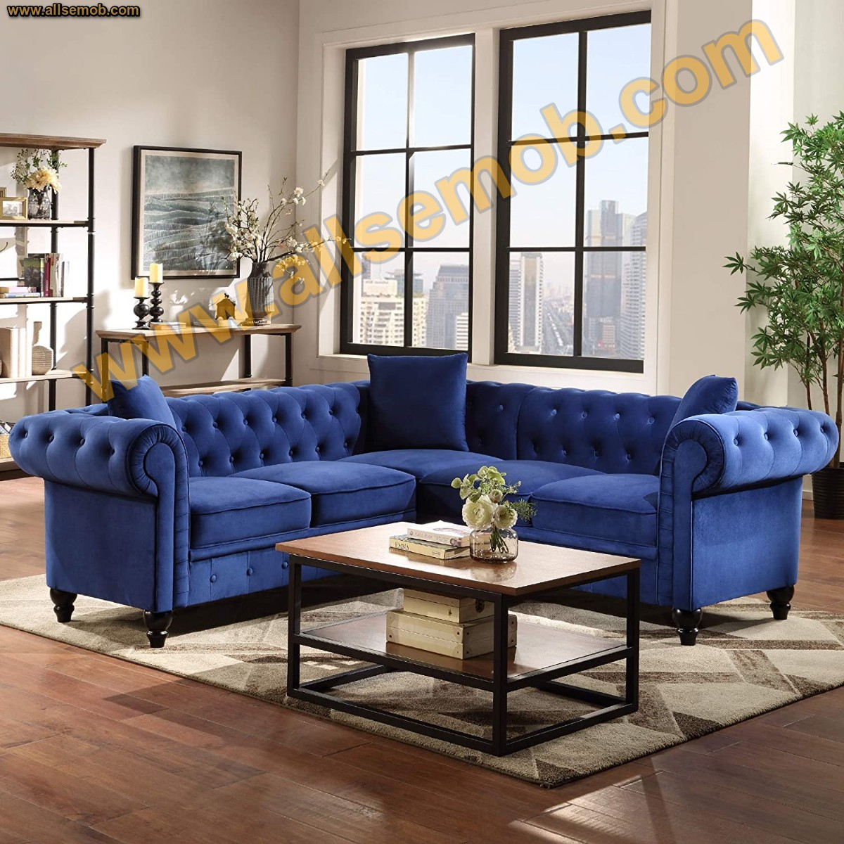Mavi Chester L Köşe Takımı Klasik P Kol