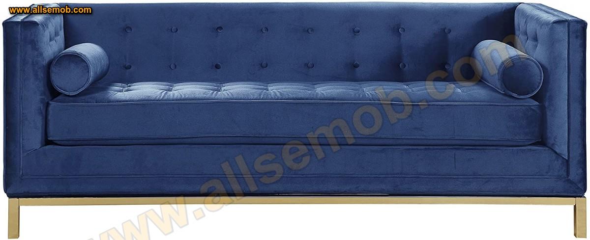 Mavi Kadife Art Deco Modern Lüks Kanepe Üçlü Koltuk Kadife Parlak Kumaş