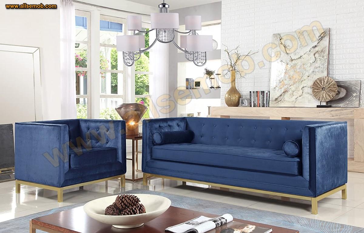 Mavi Kadife Koltuk Takımı Art Deco Modern Lüks Kanepe Üçlü Koltuk Kadife Parlak Kumaş