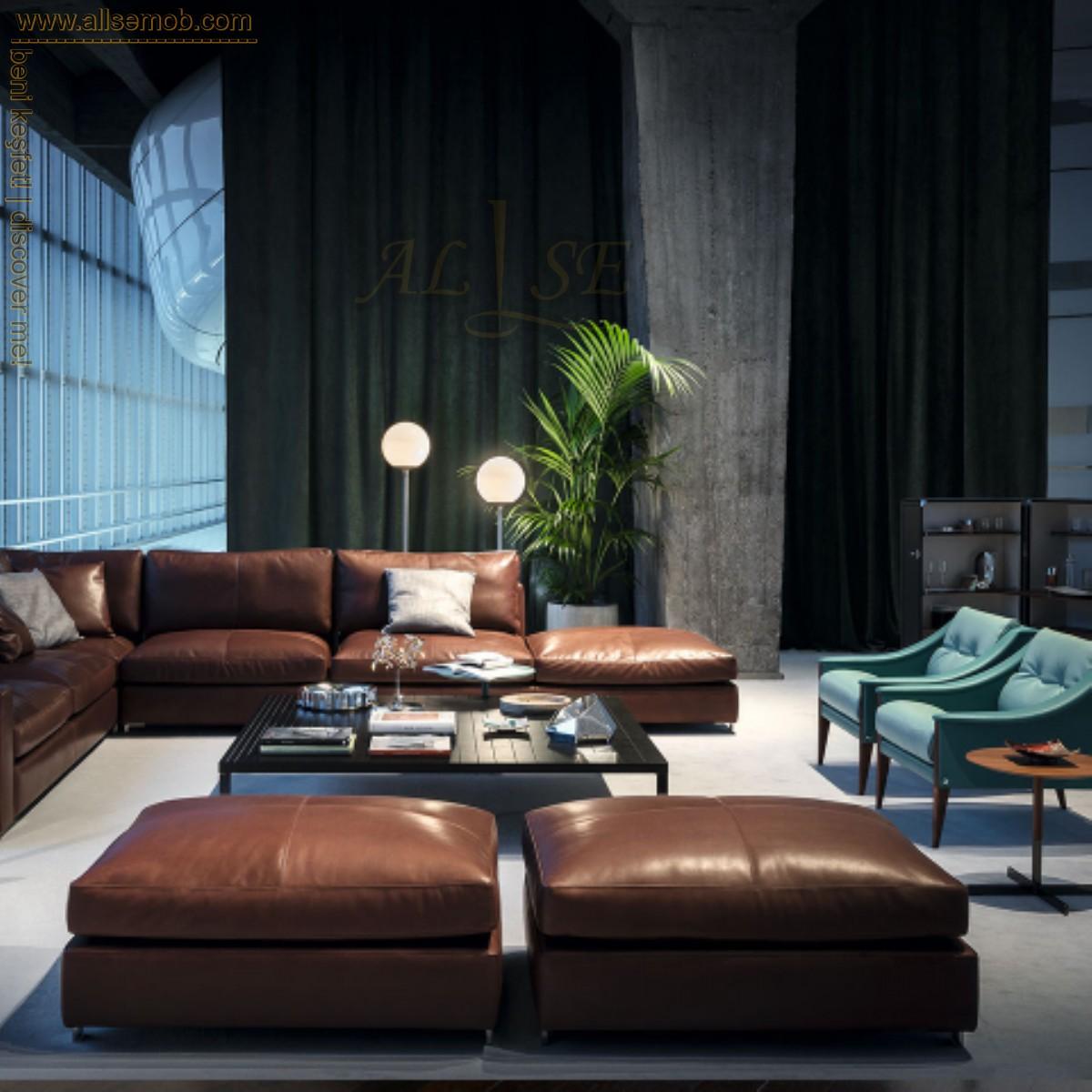 Modern Lüks Tasarım Deri Köşe Koltuk Taba Renk Salon Dekorasyon