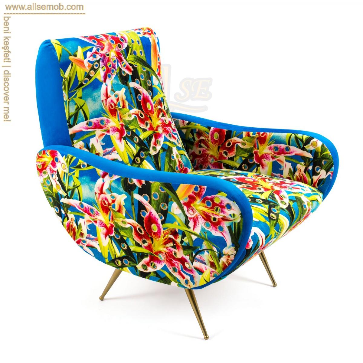 Renkli Desenli Baskılı Berjer Tekli Koltuk Dekoratif Koltuklar