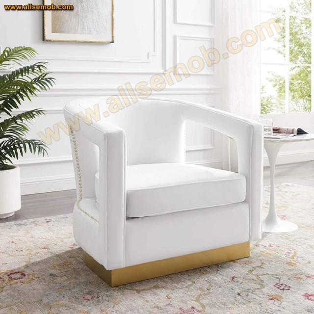 Beyaz Kadife Karizma Berjer Koltuk Modern Lüks Dekoratif Tekli Berjer Koltuk