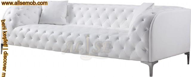 Beyaz Üçlü Chester Kanepe Modern Lüks Tasarım