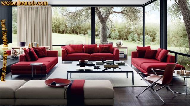 Dekoratif Creatif Lüks Modern Kırmızı Salon Oturma Grubu Tasarımı