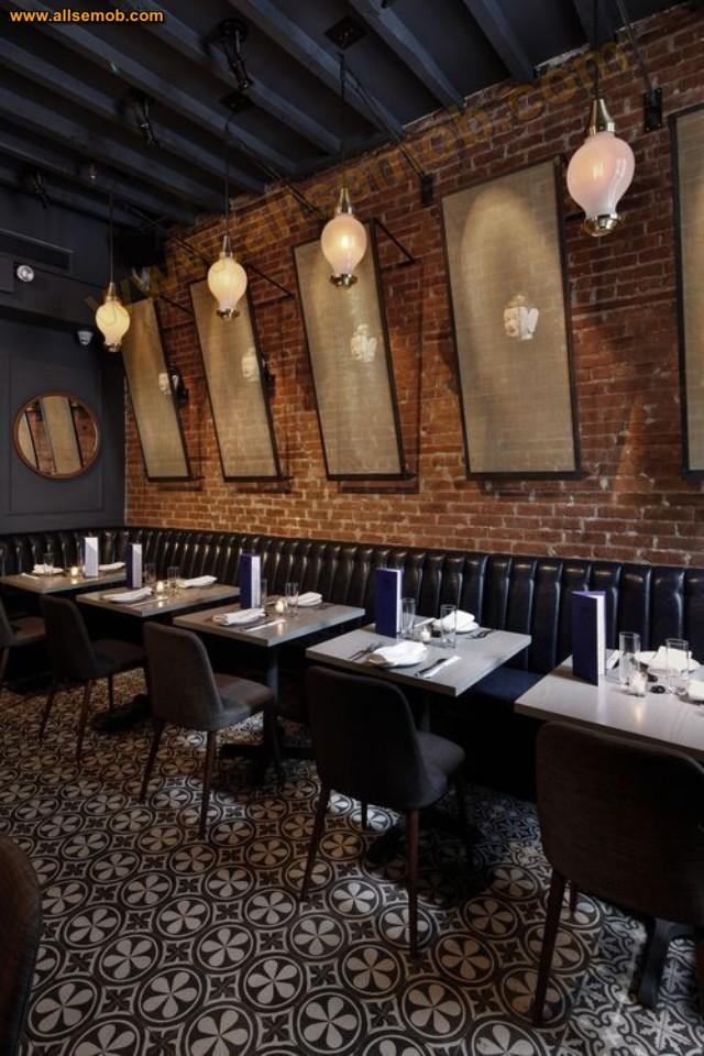 Deri Sedir Koltuklar Masalar Sandalyeler Lüks Restoran İç Tasarım Fikirleri