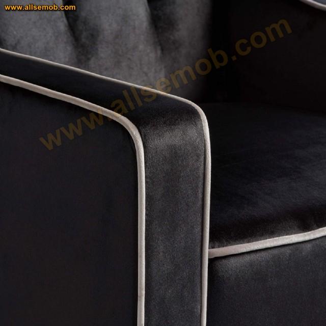 Fitilli Modern Siyah Berjer Koltuk Kolçak Fitil Görünümü