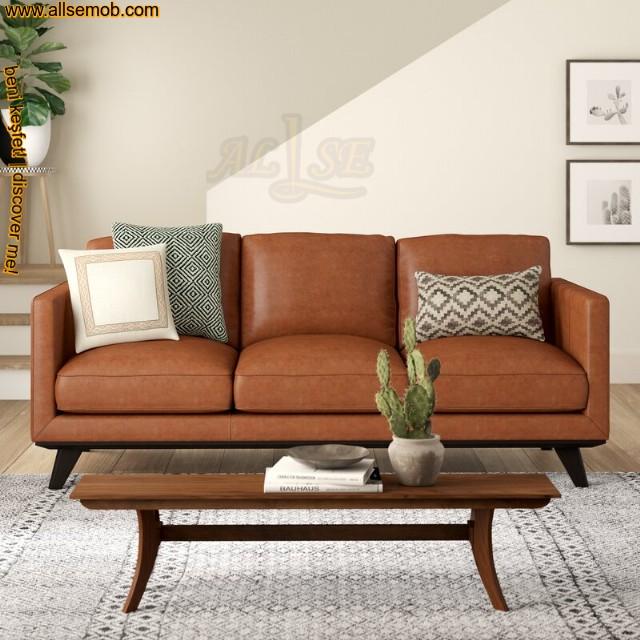 Kahverengi Deri Üçlü Kanepe Modern Tasarım