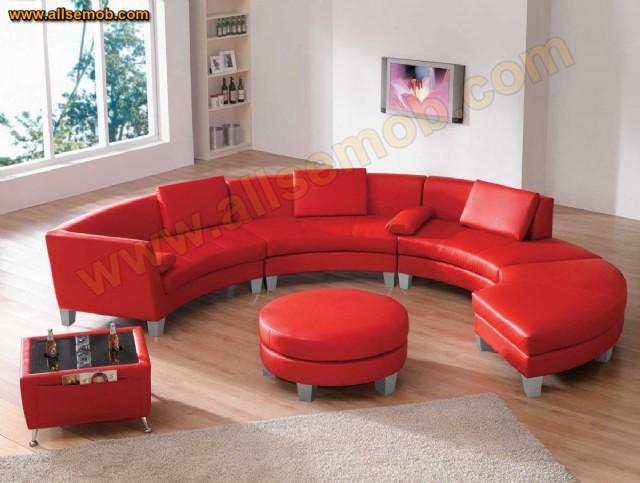 Kırmızı Deri C Koltuk Takımı Modern Lüks Yuvarlak Koltuk Takımı Tasarımı