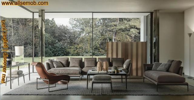 Lüks Modern Oturma Odası Koltuk Dekorasyonu