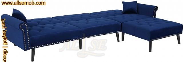 Mavi Avangart Modern Chester Köşe Koltuk Takımı Yataklı