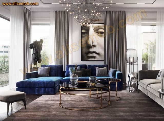 Mavi Gri Dekorasyon Modern Lüks Köşe Takımı Salon Oturma Odası Tasarımı
