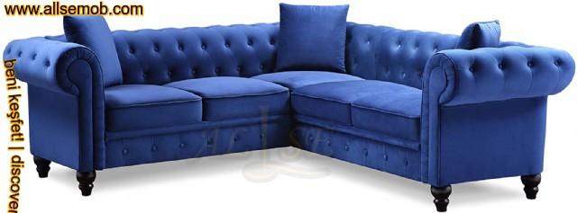 Mavi Kadife Chester Köşe Koltuk Takımı