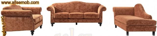 Modern-klasik Koltuk Takımı Torna Ayaklı Turuncu Renk
