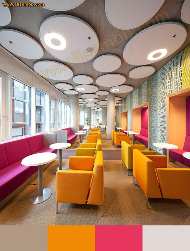 Renkli Restoran İç Tasarımı Koltuklar Sedirler Masalar Lüks Dekorasyon