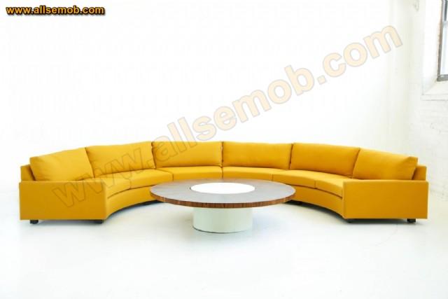 Sarı Renkli Lüks C Yuvarlak Koltuk Takımı Modelleri Özel Ölçü Üretim