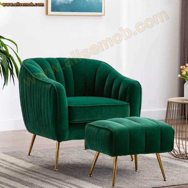 Yeşil Pembe Panter Berjer Koltuk Zarif Dekoratif Puflu Tekli Berjer Koltuk