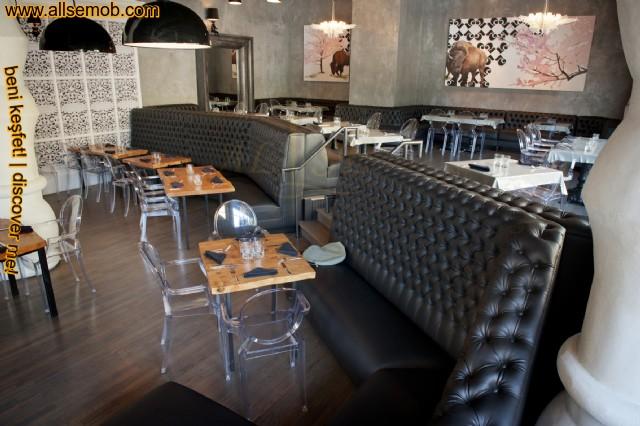 Yüksek Sırtlı Deri Kapitoneli Cafe Sedir Koltuk Özel Ölçü Üretim