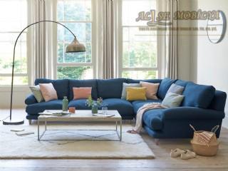 Mavi Köşe Koltuk Modern Lüks Hyper Soft Kuş Tüyü Rahatlığında Konfor